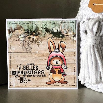 Petite carte ''Joyeuses Fêtes'' avec lapin