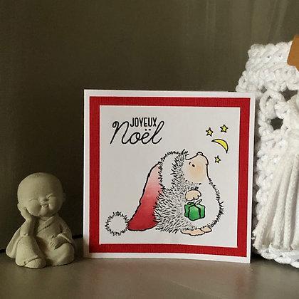Petite carte ''Joyeux Noël'' avec petit hérisson