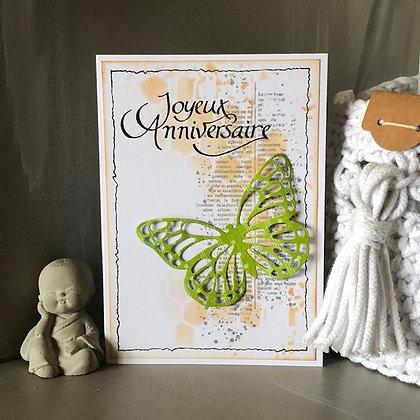 Carte ''Joyeux anniversaire'' avec un papillon vert