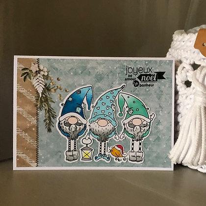 Carte ''Joyeux Noël'' avec 3 lutins dans les tons bleus