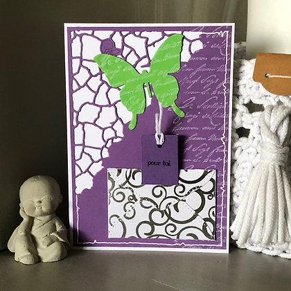 Carte à tirette ''Bon anniversaire'' avec papillon