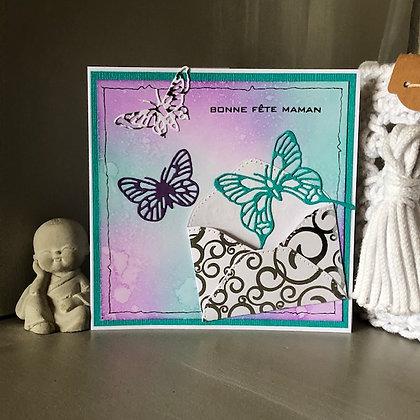 Carte ''Bonne Fête maman'' avec envolée de papillons