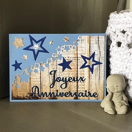 Carte ''Joyeux anniversaire'' avec étoiles