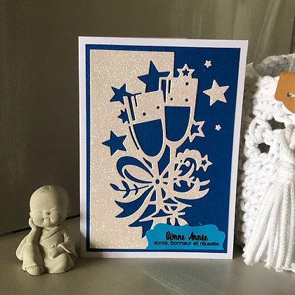 Carte ''Bonne Année, santé, bonheur et réussite'' avec papier brillant