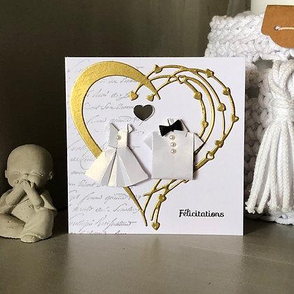 Petite carte ''Félicitations'' pour un mariage