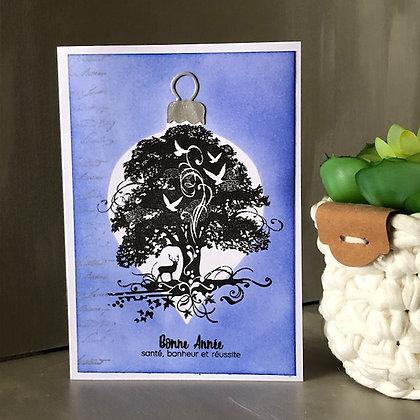 Carte ''Bonne Année'' avec arbre, sur fonds bleu