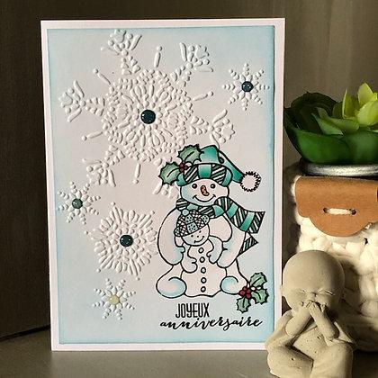 Carte ''Joyeux anniversaire'' avec bonhomme de neige