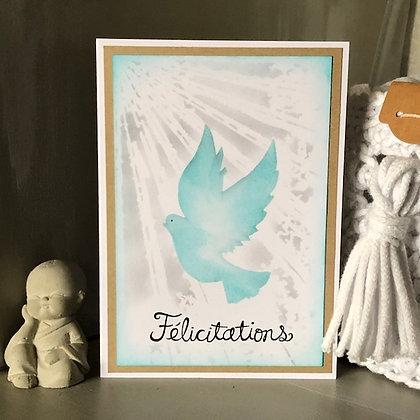 Carte ''Félicitations'' avec une colombe