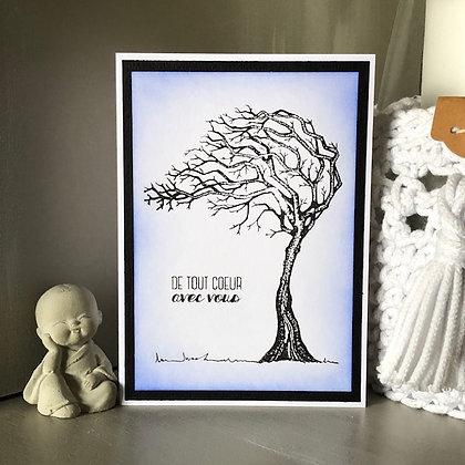 Carte ''De tout coeur avec vous'' avec un arbre