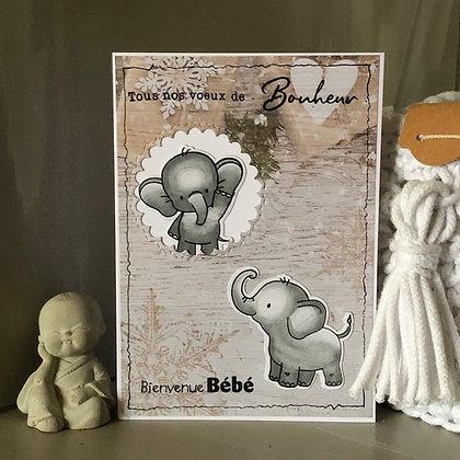 Carte ''Tous nos voeux de Bonheur, Bienvenue Bébé''