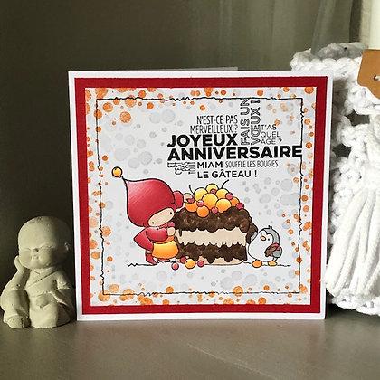 Carte ''Joyeux anniversaire, miam le gâteau'' dans les tons rouge et orange