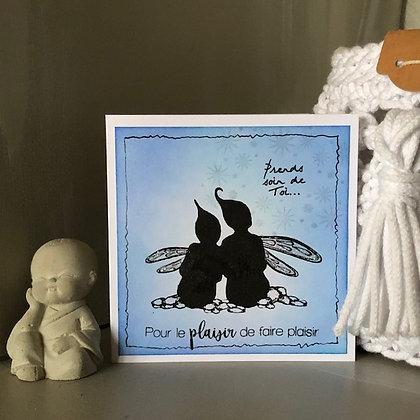 Petite carte ''Pour le plaisir de faire plaisir'' avec petites fées