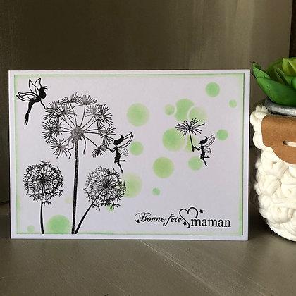 Carte ''Bonne fête maman'' avec petites fées et ronds verts