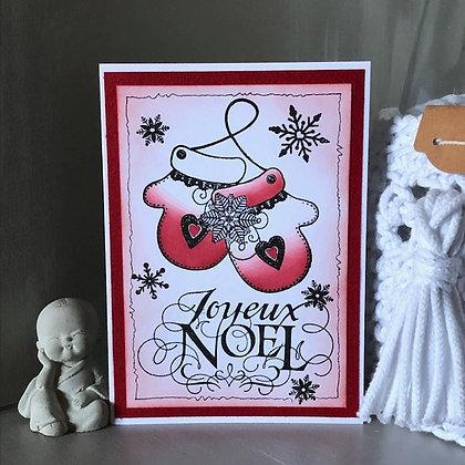 Carte ''Joyeux Noël'' avec 2 gants