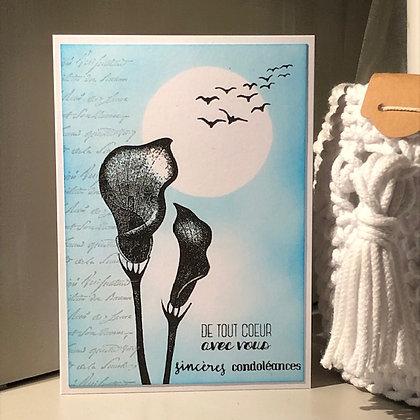 Carte ''Sincères condoléances'' avec arums