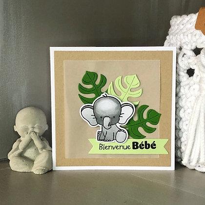 Petite carte ''Bienvenue Bébé'' avec un petit éléphant