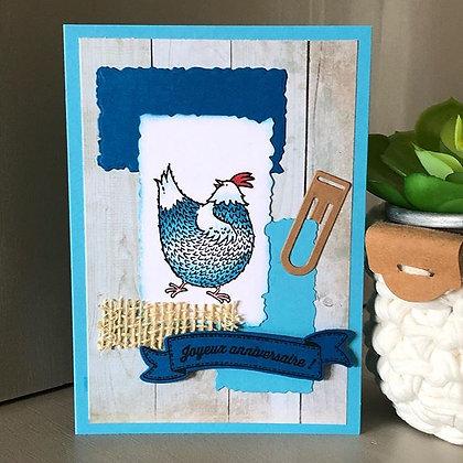 Carte ''Joyeux anniversaire'' poulette