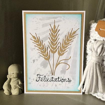 Carte ''Félicitation'' avec épis de blé