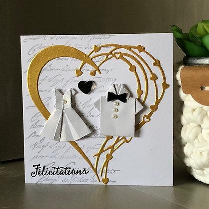 Petite carte ''Félicitaion'' pour mariage