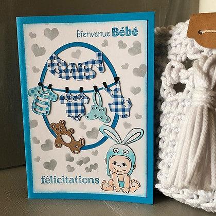 Carte ''Bienvenue Bébé'' bleue