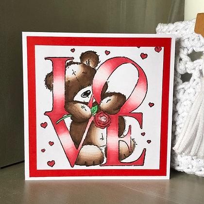 Carte ''Love'' rouge avec ourson
