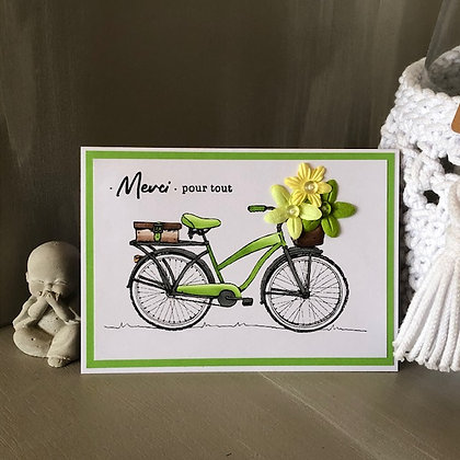 Carte ''Merci pour tout'' avec un joli vélo et son panier de fleurs