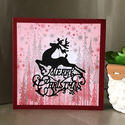 Carte ''Merry Christmas'' avec silhouette de renne