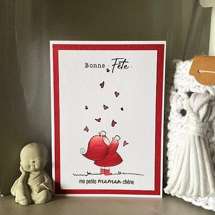 Carte ''Bonne fête, ma petite maman chérie'' avec petits coeurs