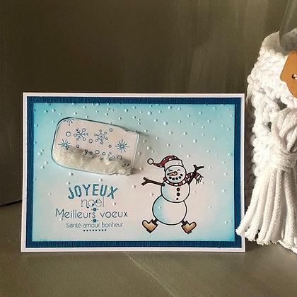 Carte à secouer ''Joyeux Noël'' avec bonhomme de neige