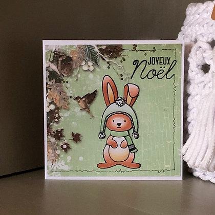 Carte'' Joyeux Noël'' avec petit lapin, dans les tons verts