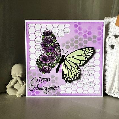 Carte ''Joyeux anniversaire'' avec papillon fleurs