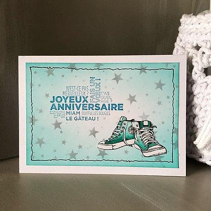 Carte''Joyeux anniversaire'' basket dans les tons turquoises
