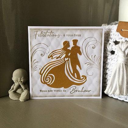 Carte ''Félicitations à vous deux'' dorée