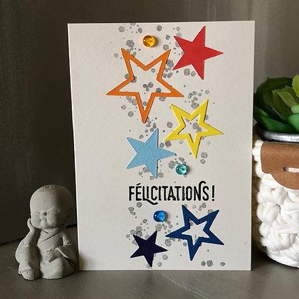Carte ''Féliciations'' avec étoiles