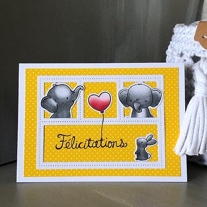 Carte ''Félicitations'' avec petits éléphants