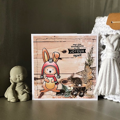 Petite carte ''Nous vous souhaitons un joyeux noël'' avec lapins