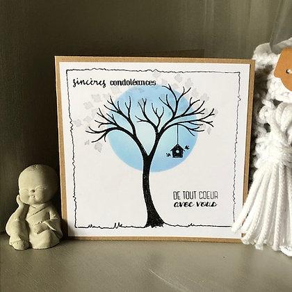 Carte ''Sincères condoléances, de tout coeur avec vous''