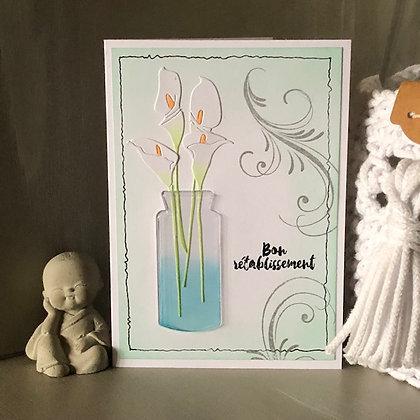 Carte ''Bon rétablissement'' avec arums dans un vase