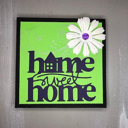 Carnet de notes ''Home sweet home'' vert et violet
