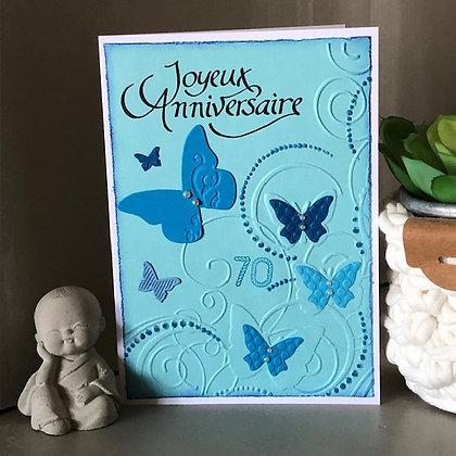 Carte ''Joyeux Anniversaire'' 70 ans, avec papillons