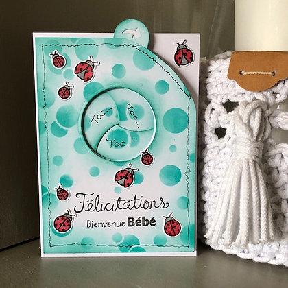 Carte à diaphane optique ''Félicitation, Bienvenue Bébé''