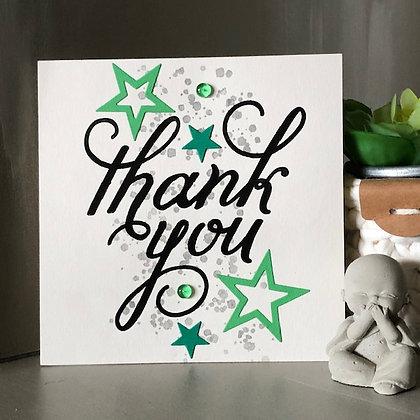 Carte ''Thank you'' dans les tons verts, avec étoiles