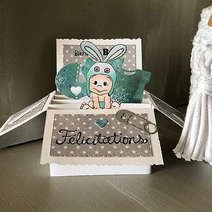 Carte pop'up ''Félicitations, Bienvenue Bébé''
