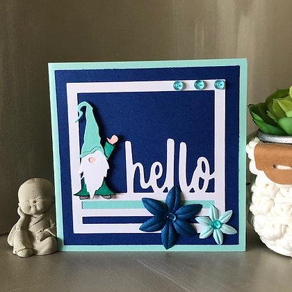 Carte ''Hello'' avec lutin, dans les tons bleus et turquoise