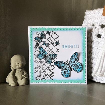 Petite carte ''Rétablis-toi vite'' avec papillons