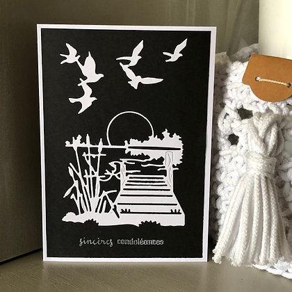 Carte ''Sincères condoléances'' avec ponton