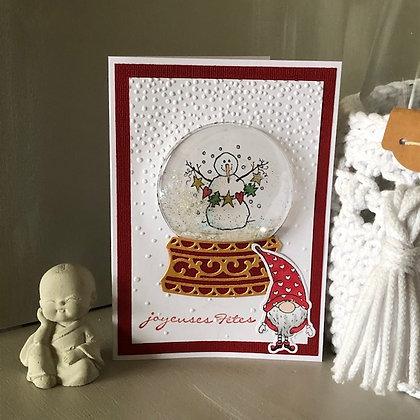 Carte à secouer ''Joyeuses fêtes'' avec lutin et bonhomme de neige