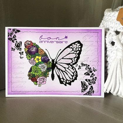 Carte ''Bon anniversaire'' avec grand papillon