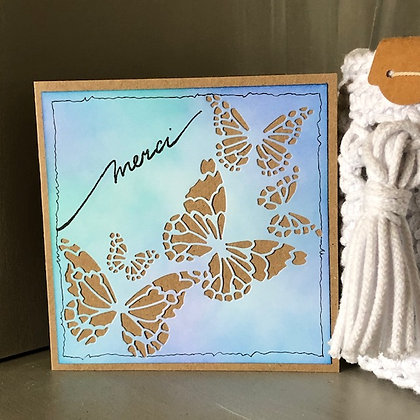 Carte ''Merci'' avec papillons