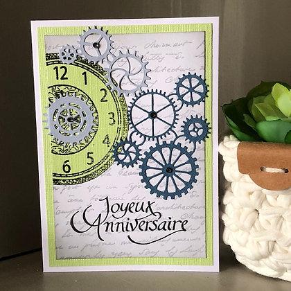 Carte ''Joyeux anniversaire'' avec horloge et rouages